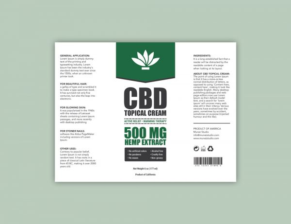 CBD Topical Cream Label
